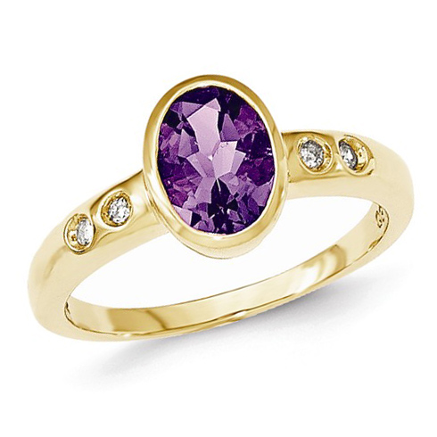 14kt Yellow Gold 1.1 ct Oval Amethyst Bezel Ring with Diamonds
