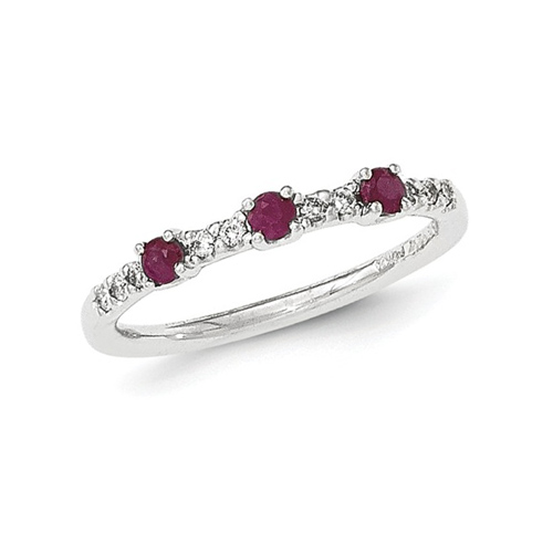 14kt White Gold 3/10 ct Ruby Stackable Ring with Diamonds
