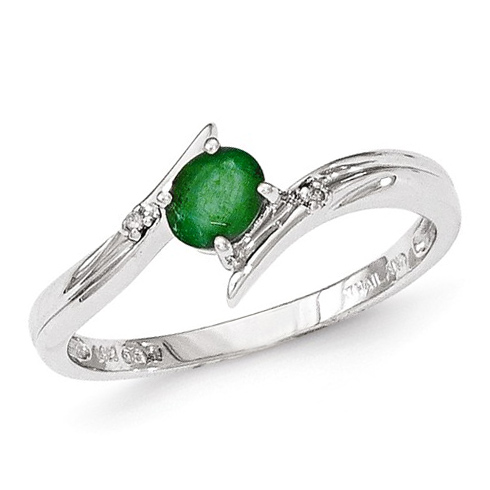 14kt White Gold 1/3 ct Oval Emerald Ring with Diamonds