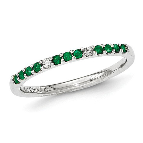 14kt White Gold .17 ct tw Stackable Emerald Ring with Diamonds