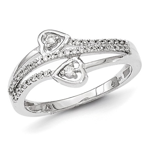 14kt White Gold 1/5 ct Diamond Heart Ring