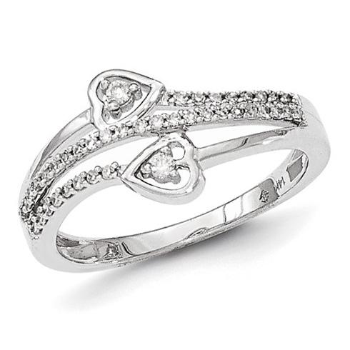 14kt White Gold 1/5 ct Diamond Heart Ring