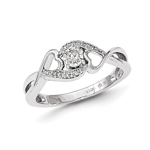 14kt White Gold 1/8 ct Diamond Joined Hearts Promise Ring