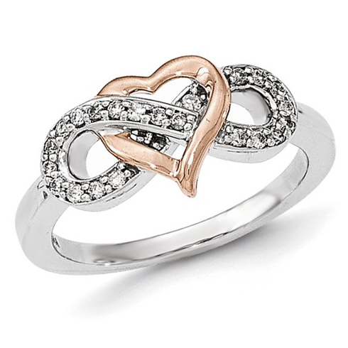 14kt Two-tone Gold 1/6 ct Diamond Heart Infinity Ring