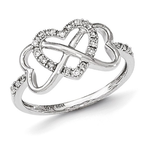 14kt White Gold 1/6 ct Diamond Hearts Ring