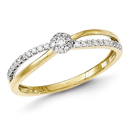 14kt Yellow Gold 1/6 ct Diamond Crisscross Cluster Promise Ring