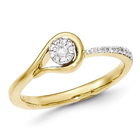 14kt Yellow Gold 1/8 ct Diamond Loop Promise Ring
