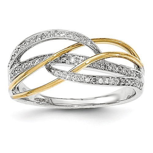 14kt Two-tone Gold .07 ct Diamond Swirl Ring