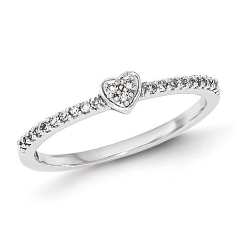 14kt White Gold 1/8 ct Diamond Heart Ring