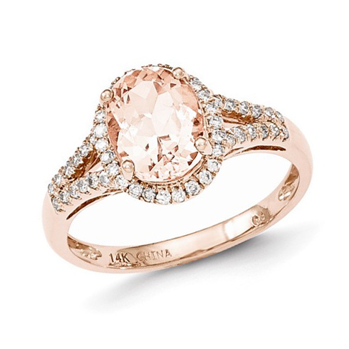 14kt Rose Gold 1.83 ct Oval Morganite Ring with 1/4 ct Diamond Accents