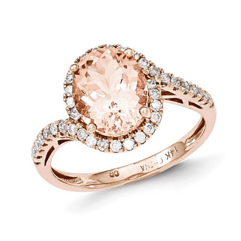 14kt Rose Gold 2.4 ct Oval Morganite Bypass Ring with 1/3 ct Diamond Accents