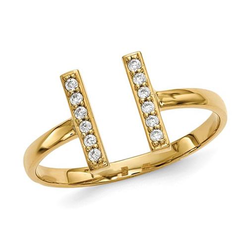 14kt Yellow Gold 1/10 ct Diamond Staple Ring