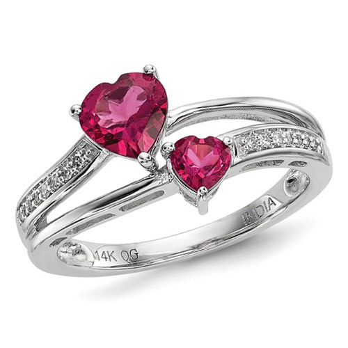 1 ct Pink Tourmaline Hearts Ring with Diamonds 14k White Gold