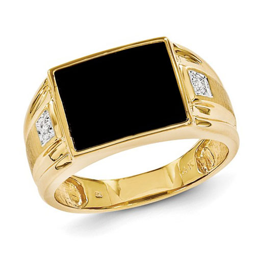 14k Yellow Gold Black Onyx Ring with .01 ct Diamond Accents