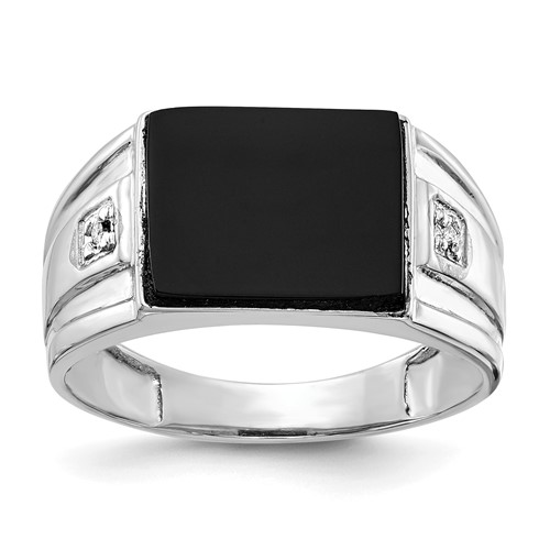 14k White Gold Black Onyx Ring with .01 ct Diamond Accents