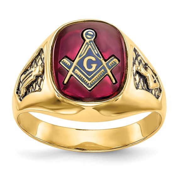 14kt Yellow Gold Masonic Ring with Red Oblong Stone