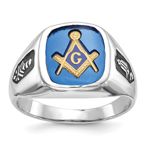 Oblong Blue Lodge Ring with Blue Stone - 14k White Gold