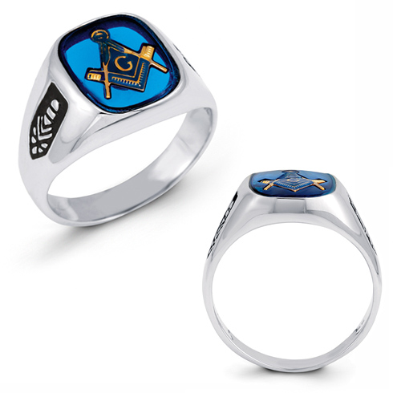 Oblong Blue Lodge Ring - 14k Gold