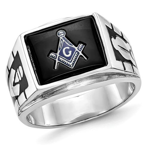 Rectangular Blue Lodge Ring - 14k White Gold
