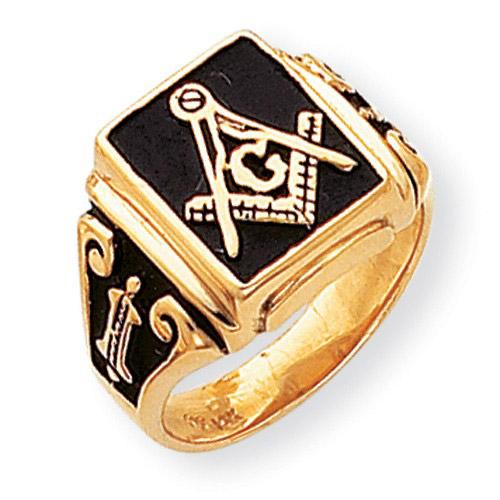 14k Yellow Gold Black Enameled Blue Lodge Ring
