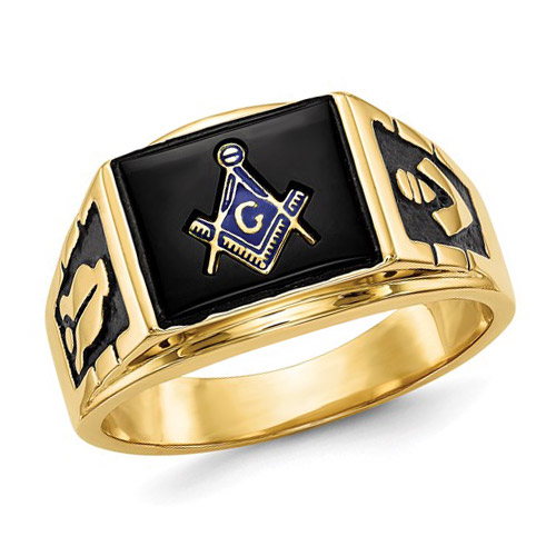 Rectangular Masonic Ring with Black Stone 14k Yellow Gold