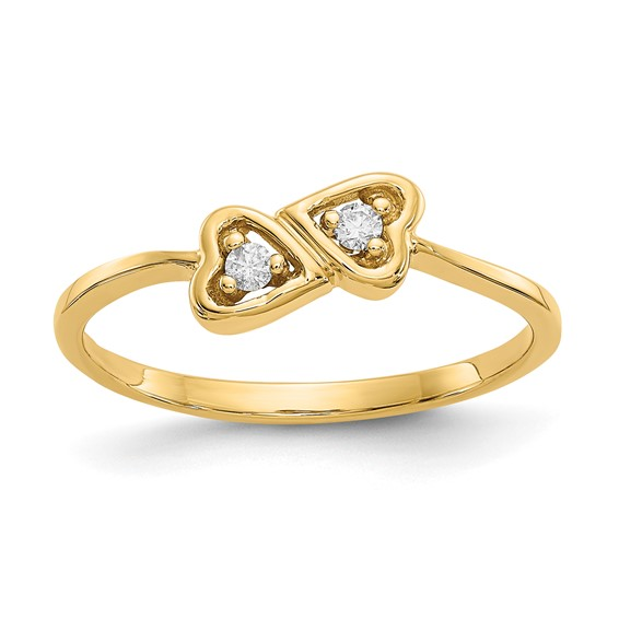 14kt Yellow Gold Promise Heart Ring with Diamond Accents