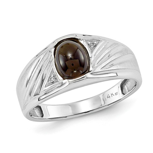 14kt White Gold Men's Oval Onyx Ring with Diamonds