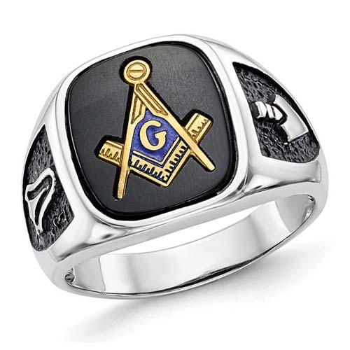 Oblong Masonic Ring Onyx Stone 14k White Gold