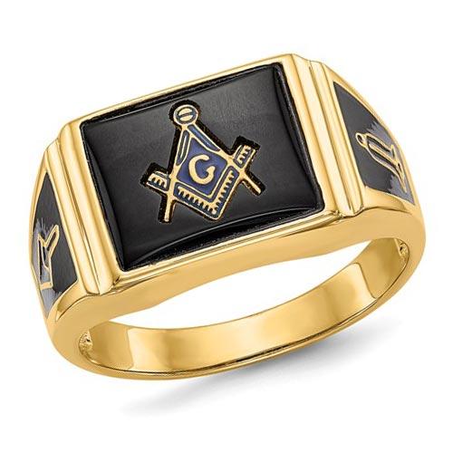 14k Yellow Gold Rectangular Blue Lodge Ring Open Back