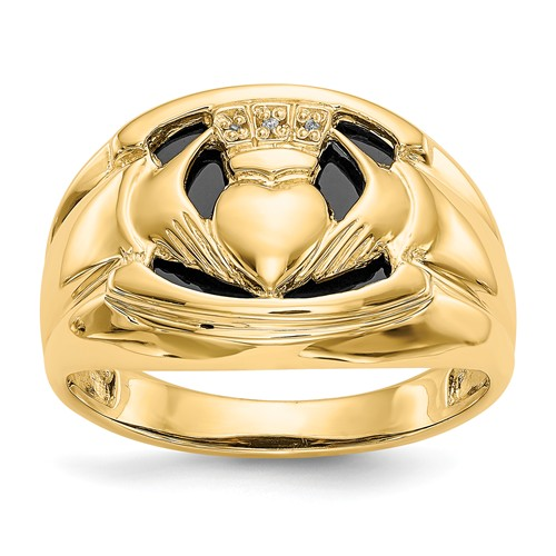 14k Yellow Gold Black Onyx Claddagh Ring with Diamond Accents