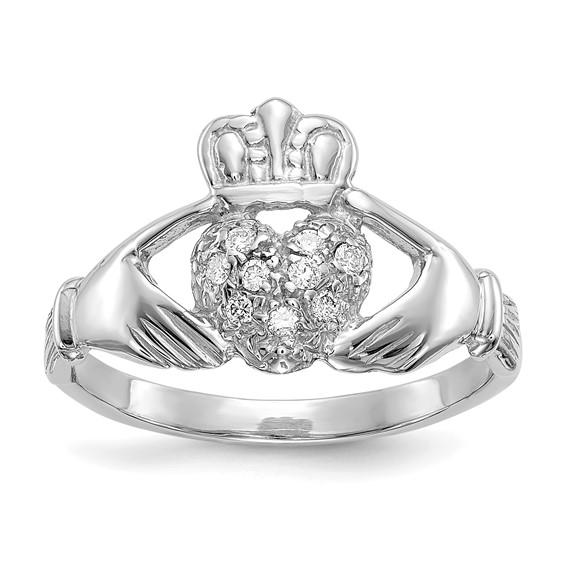 14kt White Gold 1/10 ct Diamond Claddagh Ring