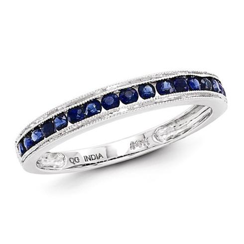 14kt White Gold 1/2 ct Sapphire Anniversary Milgrain Ring
