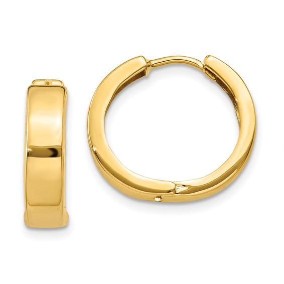 14kt Yellow Gold 1/2in Hinged Hoop Earrings 4mm