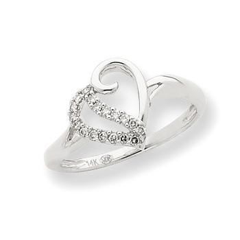 14kt White Gold 1/10 ct Diamond Open Heart Ring