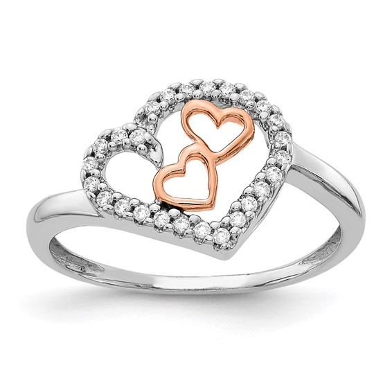 14kt White and Rose Gold 1/8 ct Diamond Nestled Hearts Promise Ring
