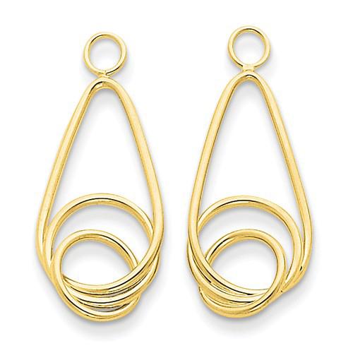 14kt Yellow Gold 1in Fancy Teardrop Earring Jackets