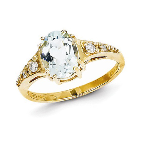 14kt Yellow Gold 1.5 ct Oval Aquamarine Ring with Diamonds