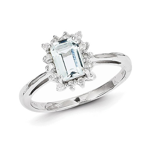 14kt White Gold .88 ct Emerald-cut Aquamarine Ring with Diamonds