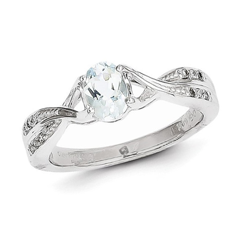 14kt White Gold .71 ct Oval Aquamarine Ring with .05 ct Diamond Accents