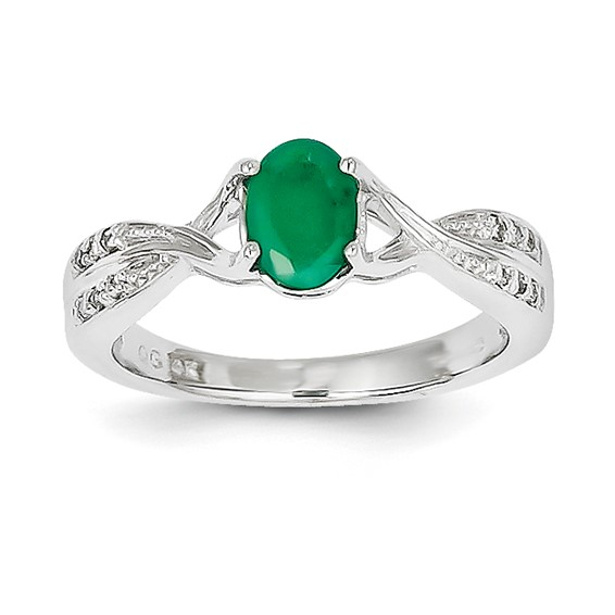 14kt White Gold 2/3 ct Oval Emerald Twist Ring with Diamonds