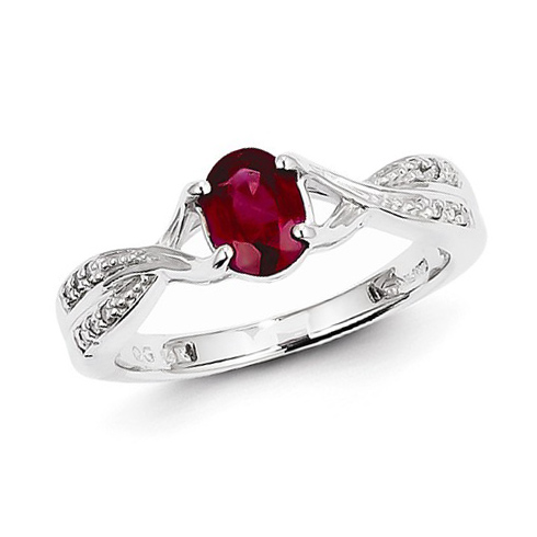 14kt White Gold 1 ct Oval Ruby Ring with 1/20 ct Diamond Accents