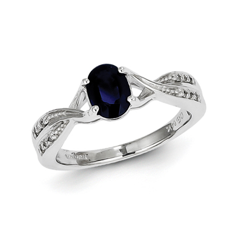 14kt White Gold 1.1 Ct Oval Sapphire Ring with 1/20ct Diamond Accents