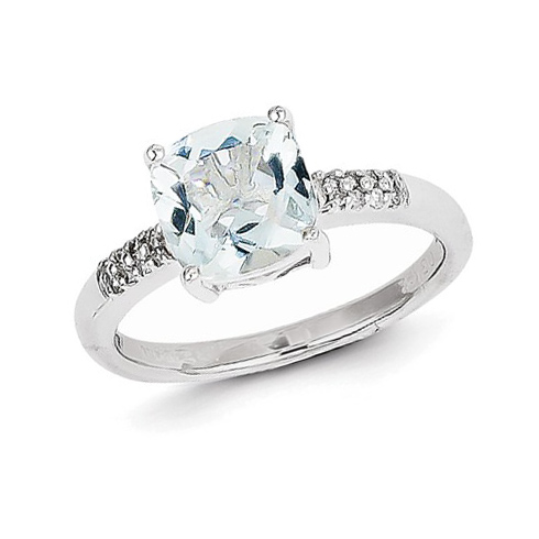 14kt White Gold 1 ct Cushion Aquamarine Ring with 1/15 ct Diamond Accents