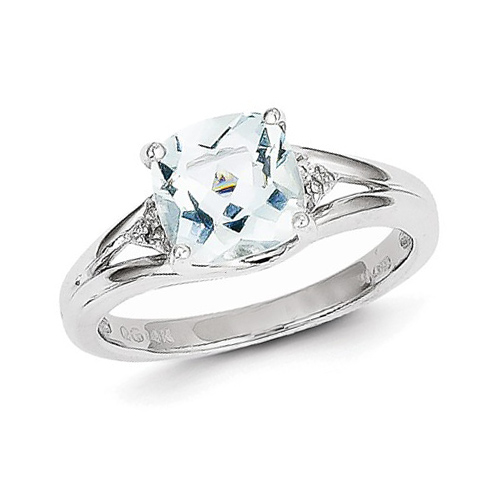 14kt White Gold 1 ct Cushion Aquamarine Ring .03 ct Diamond Accents