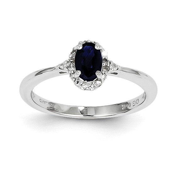14kt White Gold 2/3 Ct Oval Sapphire Ring with 1/10 ct Diamond Accents