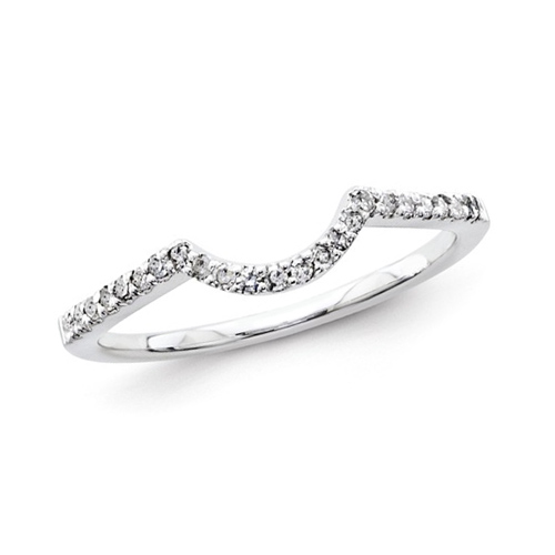 14kt White Gold 1/6 ct Diamond Vaulted Wedding Band