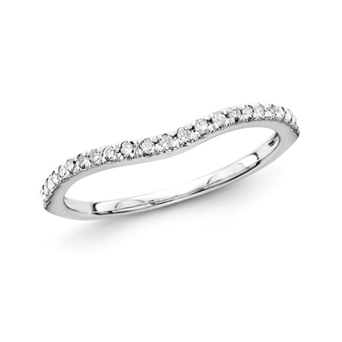 14kt White Gold 1/6 ct Diamond Curved Wedding Band