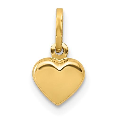 14kt Yellow Gold Mini Puffed Heart Charm