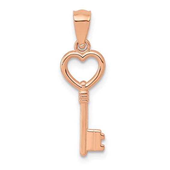 14kt Rose Gold 5/8in Heart Key Pendant