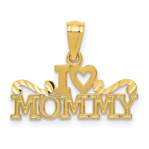 14k Yellow Gold I Heart Mommy Pendant